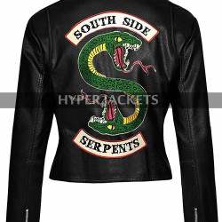 Womens Riverdale Southside Serpents Black Biker Leather Jacket