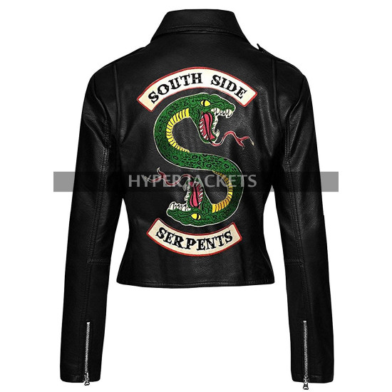 Womens Riverdale Southside Serpents Black Biker Leather Jacket