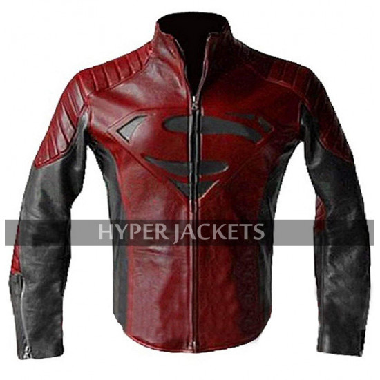 Superman Smallville Red And Black Costume Tom Welling Biker Leather Jacket