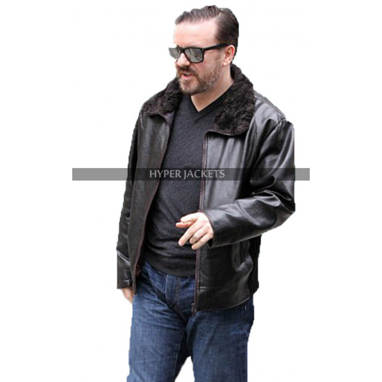 Ricky Gervais After Life Black Leather Jacket