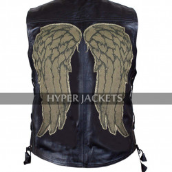 Daryl Dixon Walking Dead Governor Angel Wings Black Leather Vest