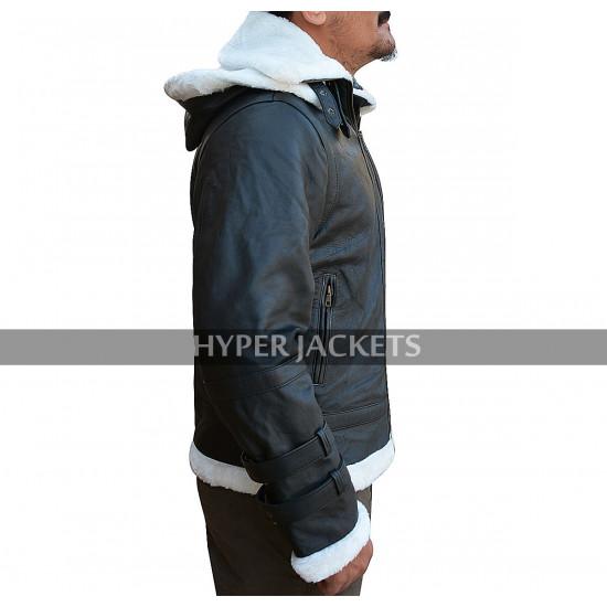 B3 Aviator Pilot Hoodie White Fur Shearling Black Bomber Leather Jacket