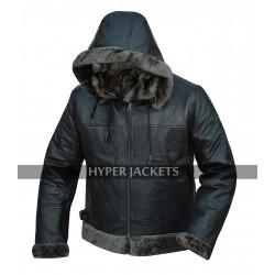 B3 Hooded Aviator Pilot Black Fur Shearling Bomber Leather Jacket