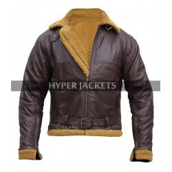 B3 Aviator Pilot Flying Ginger Fur Shearling Bomber Brown Leather Jacket