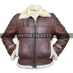 RAF B3 Aviator Pilot Fur Shearling Black / Brown Bomber Leather Jacket