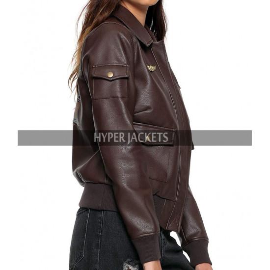 Brie Larson Captain Marvel Costume Aviator Leather Jacket