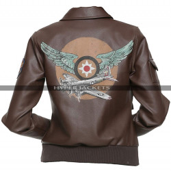 Brie Larson Captain Marvel Costume Aviator Leather Jacket