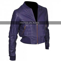 Doctor Who Billie Piper Purple Bomber Slim Fit Leather Jacket