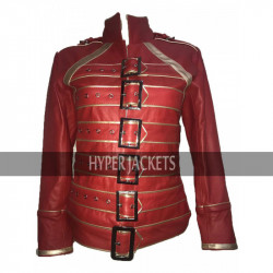 Queen Tribute Concert Freddie Mercury Women Red Leather Jacket