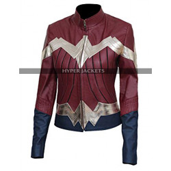 Wonder Woman Gal Gadot Maroon Leather Jacket