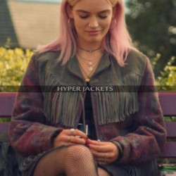 Sex Education Maeve Wiley Fringe Leather Jacket