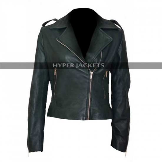 Preacher Ruth Negga Green Biker Leather Jacket