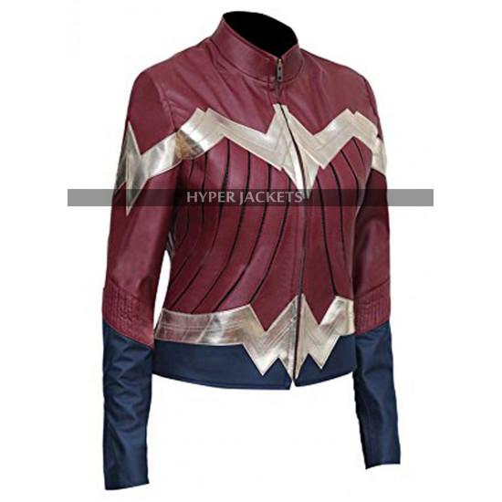 Wonder Woman Gal Gadot Maroon Leather Jacket