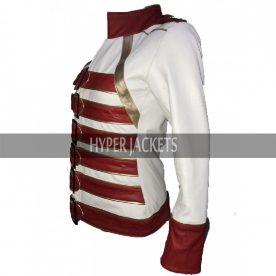 Womens Freddie Mercury Wembley Concert Queen Tribute Belted Red White Leather Jacket