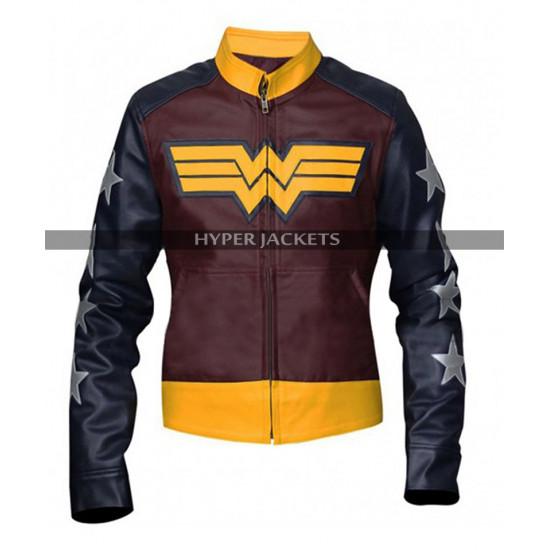 Wonder Woman Princess Diana Comic Costume Leather Jacket