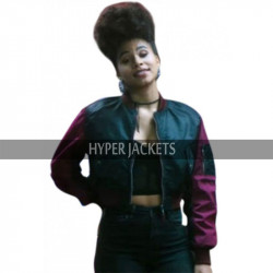 Deadpool 2 Domino Zazie Beetz Satin Bomber Jacket