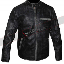 Tom Cruise Vyrus 987 Motorcycle Distressed Black Jacket