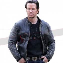 Daddys Home Mark Wahlberg Distressed Biker Jacket