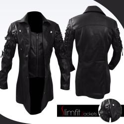 Gothic Steampunk Matrix Black Leather Trench Coat