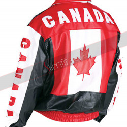 Canadian Flag Leather Bomber Jacket