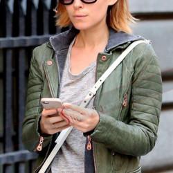 Kate Mara Quilted Biker Green Jacket