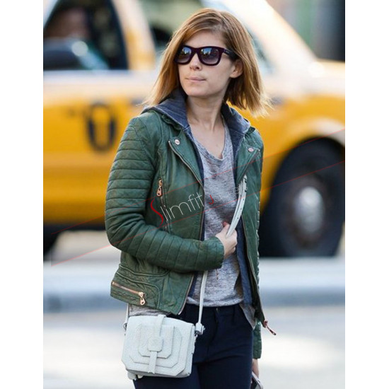 Kate Mara Quilted Biker Green Jacket