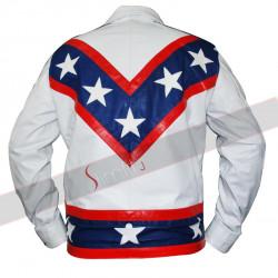 Mens Evel Knievel Entertainer White Motorcycle X-2 Stunt Biker Leather Jacket