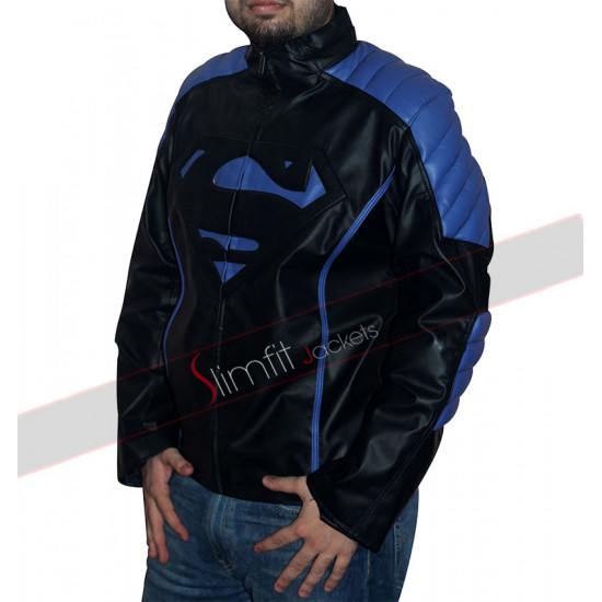 Black and Blue Stripes Superman Leather Jacket