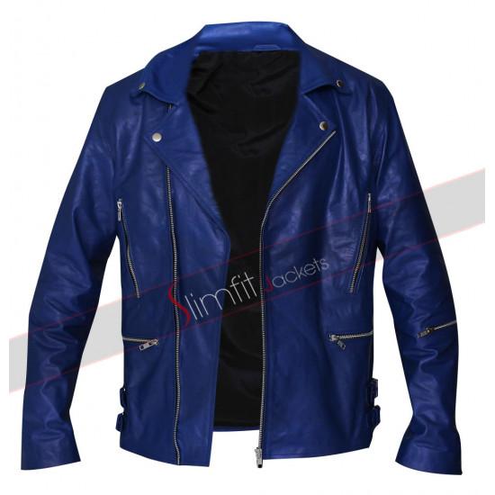 30 Seconds to Mars Jared Leto Blue Biker Leather Jacket