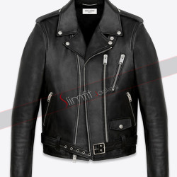 3 Angled Zip Pockets Classic Saint Laurent Biker Jacket