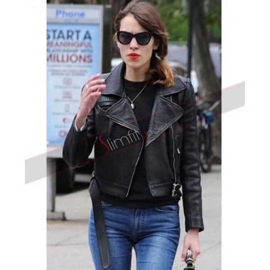 Alexa Chung Little Black Leather Moto Jacket for Madewell