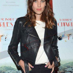 Alexa Chung Little Black Leather Moto Jacket for Madewell