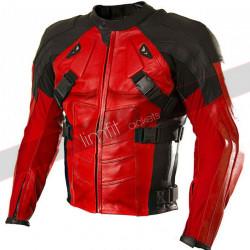 Deadpool Red and Black Biker Leather Jacket