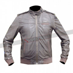 Designer Cafe Racer Style Bomber Grey Leather Jacket