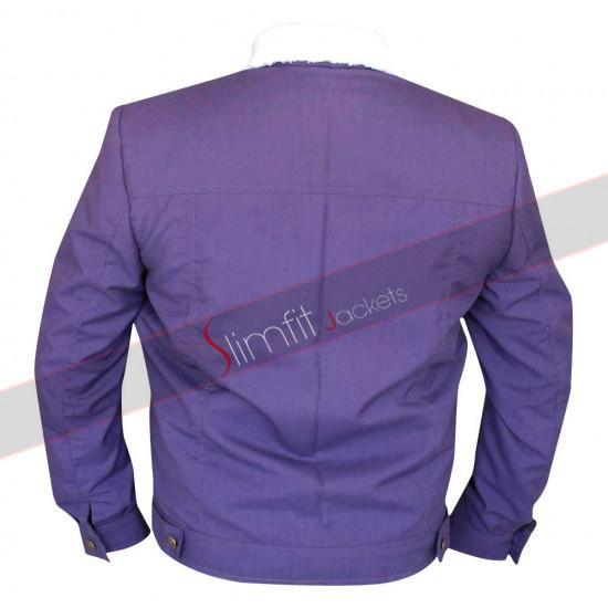 Slim Fit Men Purple Cotton Jacket