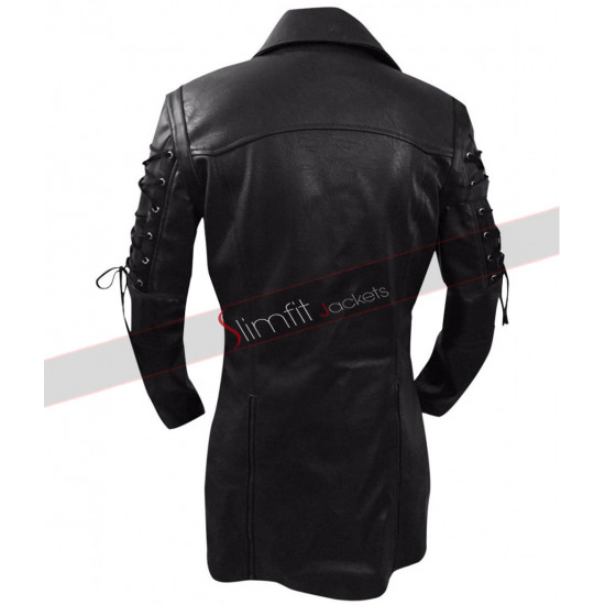 Gothic Steampunk Matrix Black Leather Trench Coat