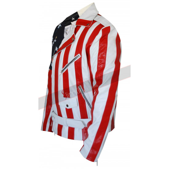 Biker Style American Flag Faux Leather Jacket