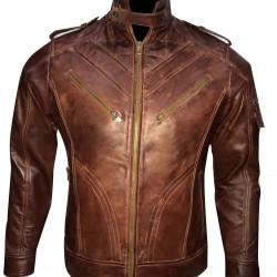 Dark Brown Quilted Biker Leather Jacket