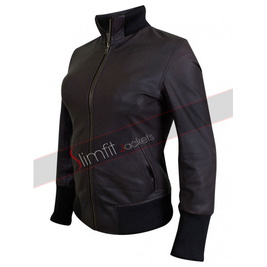Emma Swan Brown Lambskin Bomber Jacket