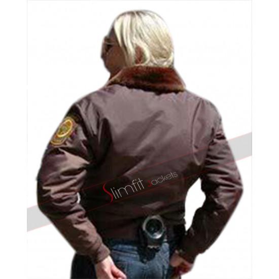Sheriff Victoria Moretti Longmire Fur Collar Bomber Jacket