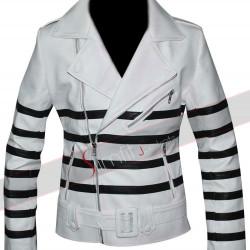 Katie Holmes Striped Biker Leather Jacket