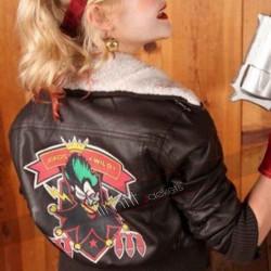 Bombshell Harley Quinn Bomber Fur Jacket