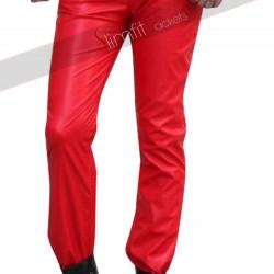 2015 Fashion Sweatpants Men Hip Hop Red Leather Pant