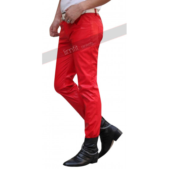 2015 Fashion Sweatpants Men Hip Hop Red Leather Pant