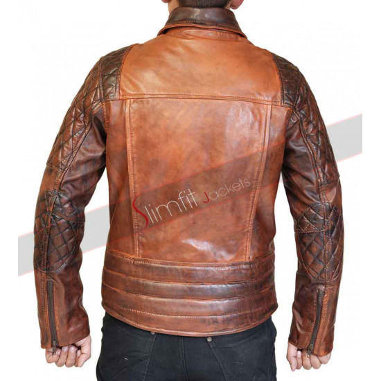 Rustic Vintage Quilted Motorcycle Brown Leather Jacket