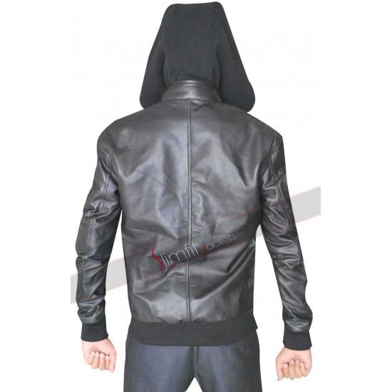 Eminem Mens Biker Black Leather Jacket