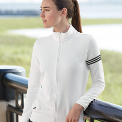 Adidas Ladies ClimaLite 3-Stripes French Terry Full-Zip Jacket