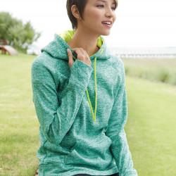 J. America 8616 Ladies Cosmic Poly Contrast Hooded Pullover Sweatshirt