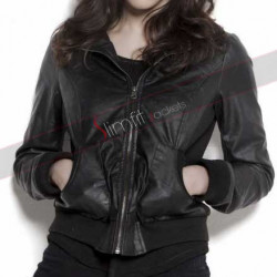 Alexandra Daddario Black Leather Biker Jacket