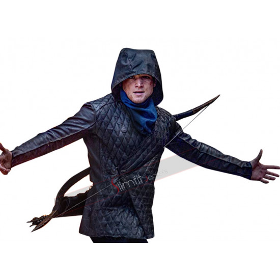 Robin Hood (Taron Egerton) Quilted Black Leather Jacket